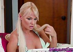 Blonde lesbian tongued