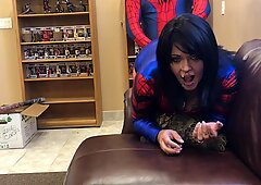 Spidergirl Fucked Hard and Gets a Web Facial from Spiderman