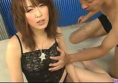 petite Sayaka Tsuzi gets her wooly puss toyed