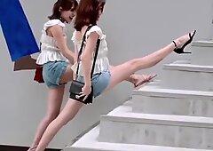 Ragazza sexy cinese di tik tok, danza sxey hot