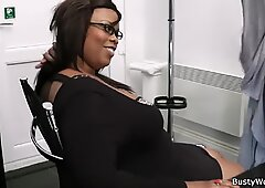 His bang big-boobed ebony bbw for the job