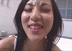 Cute Japanese girl Sucks 3 Cocks