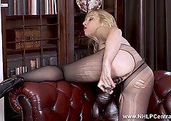 Blonde busty Milf sexpot fucks huge dildo in pantyhose