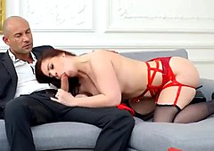 Red lingerie brunette babe in stockings gets her ass drilled