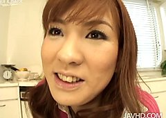 Steamy Japanese cutie Maria Asagiri shows her beaver to horny daddy