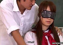 Asian slut gets blindfolded and drilled hard