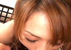 Awesome brunette slut called Hirako Houzuki sucks tasty dick with joy