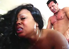 Fat black chick gets her anus stretched with massive white cock