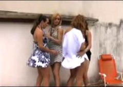 Trans Foursome Orgy Outdoors