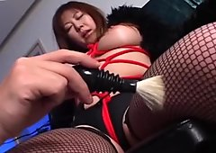 Bosomy Japanese hussy Momoko gets turned on with a brush