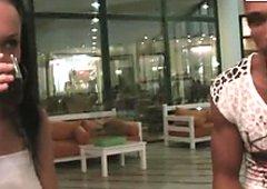 Aspen picks up a whorish brunette chick in a mall