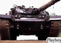 Badass babes driving big tanks and dirty biking while naked