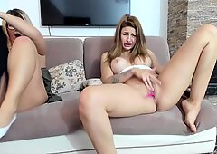 two sisters with masive tits enjoy touching their jucy pussies online