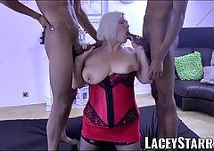 Laceystarr - BBC Doppia squadra funziona su nonna insaziabile