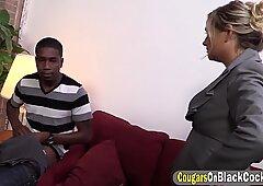 Blonde cougar takes Lexxi gets long black rod