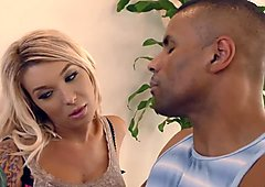 Blonde tranny Aubrey Kate gets fucked by a black man