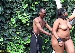 Vera donna bella e grassa africano fuori bondage, dominazione, sadismo lesson