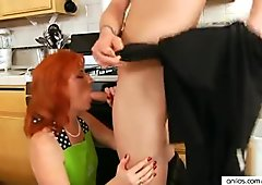 Redhead Sasha Brand Housewife Fucks In Kitchen