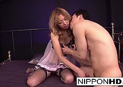 Sweet Japanese hottie gets him to play with her hairy pussy