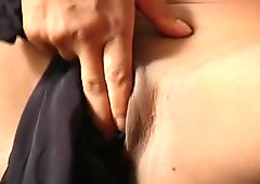 Maxine shoves her black pantyhose into her pussy  (CLIP)
