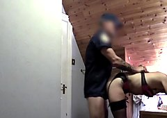 Brunette rimming ass of a cop