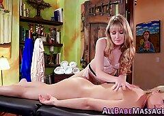Lesbian teen massaged and scissored