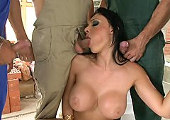 Horny lover Aletta Ocean takes one shaft at a time dipping hot in her mouth