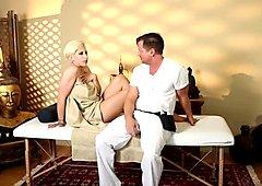 Inked massage loving babe banged doggystyle