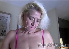 56y Nonna Amber Connors Squirts in Hotel Stairwell