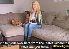 Blonde uk babe sucks cock at sex audition