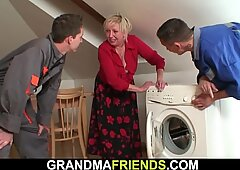 Big udders blond granny rides and sucks at same time